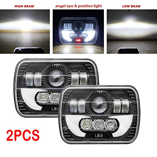 7x6 or 5x7 Inch LED Headlights Amber DRL for Ford E250 E350 E450 Super Duty E150 H6054/H6052/H6014 H4/9003 Replacement Bulb Kit 6000k White Super Bright 55W (Package of 2PCS)