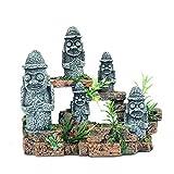 ADSE Retrato Creativo de Moe Estatua de Piedra de la Isla de Pascua Decoración de paisajismo de pecera, Refugio de Caja de Reptil, Adornos de Acuario para pecera para decoración del hogar
