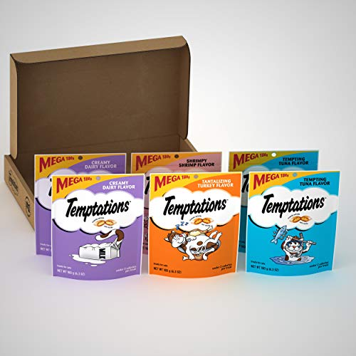 TEMPTATIONS Classic Crunchy and Soft Cat Treats Variety Pack with Creamy Dairy, Tempting Tuna, Shrimpy Shrimp, and Tantalizing Turkey Flavors, (6) 6.3 oz. Pouches