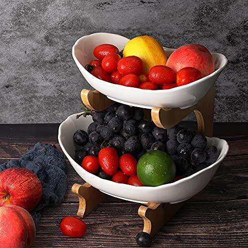 LIBWYS Obst Etagere Keramik 2 Stöckig Porzellan Obstteller 2 Etagen Obstschale mit Natürlichem Bambus Ständer Servierteller für Obst, Kuchen, Süßigkeiten (Weiß)