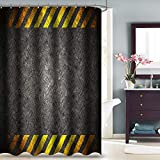 VVA Metal Diamond Plate Fabric Shower Curtain, Rugged and Weathered Industrial Construction Background with Caution Stripes, Cloth Bathroom Decor Set with Hooks, 72' Long, Dark Gray and Yellow