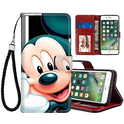 DISNEY COLLECTION Funda de piel sintética para iPhone 7/8/SE2, diseño de Mickey Mouse de Disney con correa de mano, soporte para tarjetas de crédito y correa de muñeca