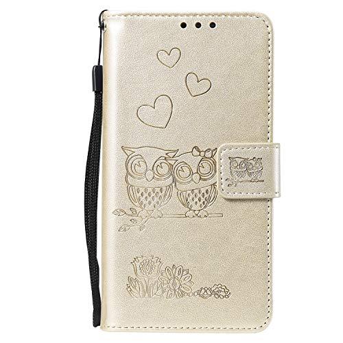NEXCURIO LG G3 Hülle Leder, Handyhülle Tasche Leder Flip Case Brieftasche Etui mit Kartenfach Stoßfest Kratzfest Schutzhülle für LG G3 (D855) - NEHHA100282 Gold