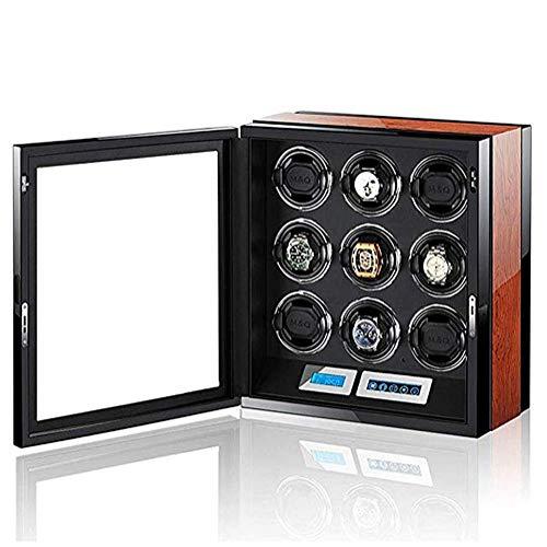 FGVDJ Caja enrolladora de Reloj automática, Pantalla Digital LCD táctil con iluminación LED, Motor silencioso japonés, Caja de presentación de Almacenamiento de 9 Relojes
