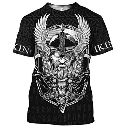 Fandao Camiseta con Estampado 3D de Cuervo de Dios de la Mitología Nórdica, T Shirt con Tatuaje de Hugin Y Munin, Top de Manga Corta con Nudo Celta Vikingo Doble Hacha, Secado Rápido,XL