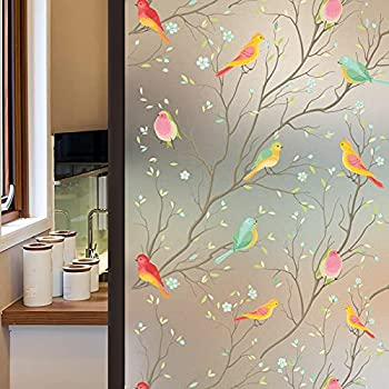 Coavas Privacy Window Film Opaque Non-Adhesive Frosted Bird Window Film Decorative Glass Film Static Cling Film Bird Window Stickers for GF-WF-90-2B Home Office 17.7In by 78.7In  45 x 200Cm