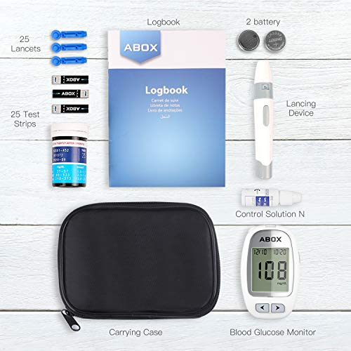 , ABOX Glucose Monitoring Kit Diabetes Testing Kit with 25 Test Strips, 25 Lancets and Everything You Need to Test Blood Sugar Level