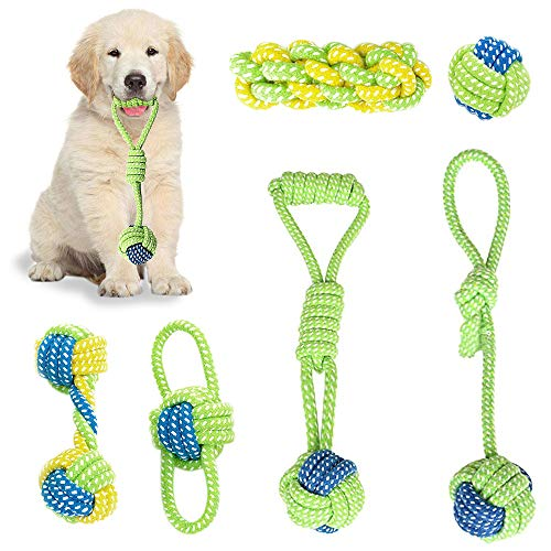 Dog Toy Interactive Chewing Rope Ball Toys Set...