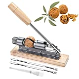 goTeamghjkl Updated Version Nutcracker Heavy Duty Pecan Walnut Cracker Plier Opener Tool for Easy Cracking Nuts Hazelnuts Almonds Chestnut Desktop Wood Base with Handle & 2 Picks & Cleaning Brush