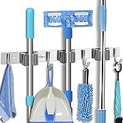 Tsmine Broom Mop Holder Wall Mounted Heavy Duty Tool Hanger Stainless Steel Organizer for Kitchen Bathroom Closet Garage Office Garden(3 Racks 4 Hooks)