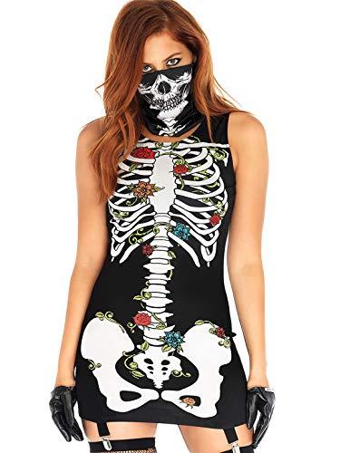 YONIER Halloween Mujeres Disfraz de Señoras Esqueleto con Mascara Vestido de Catrina del día de los Muertos Costume de Esqueleto Vestido de Fiesta S-XL