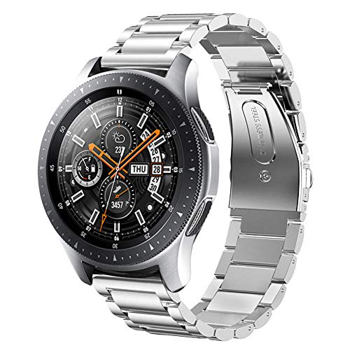 Sundaree Compatible con Correa Galaxy Watch 46MM,22MM Metal Acero Inoxidable Reemplazo Correas Banda Pulseras de Repuesto Smartwatch Correa para Samsung Galaxy Watch 46 SM-R800/S3 Classic(46 Plata)