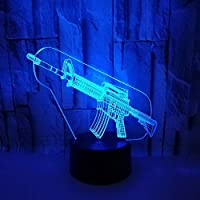Dtcrzj Ppガン形状3DナイトライトUsb電源カラフルなタッチLedビジュアルライトギフト雰囲気装飾小さなテーブルランプ