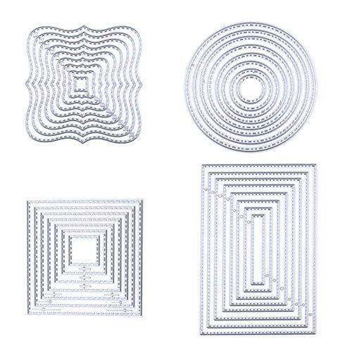 ENET 4 x Stanzschablonen Metall Prägung Schablone für Album, Scrapbooking, Papier, Karten, Kunst, Basteln, Kreis, quadratisch, rechteckig