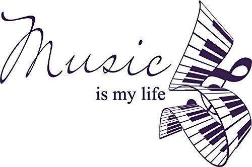 GRAZDesign Wandaufkleber Wohnzimmer Flur Klavier Noten Schlüssel - Deko Aufkleber Spruch Zitat - Wandtattoo Music is My Life / 45x30cm / 040 violett