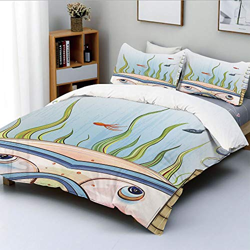 Duplex Print Duvet Cover Set Queen Size,Snorkeling Kid Child Underwater Fishes Algae Bubbles Summer Season Holiday DecorativeDecorative 3 Piece Bedding Set with 2 Pillow Sham,Multicolor,Best Gift for