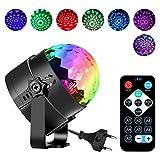 Zknen Boule disco en verre à LED RGB 7couleurs avec télécommande à distance/technologie d'activation de l'éclairage en fonction du son Idéal pour une soirée/un gala de danse/un karaoké/un bar