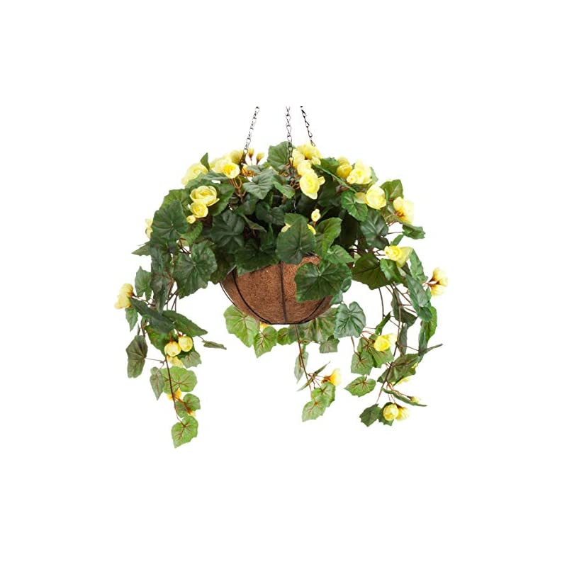 """silk flower arrangements oakridge miles kimball fully assembled artificial begonia hanging basket, 10"""" diameter and 18"""" chain – yellow polyester/plastic flowers in metal and coco fiber liner basket for indoor/outdoor use"""