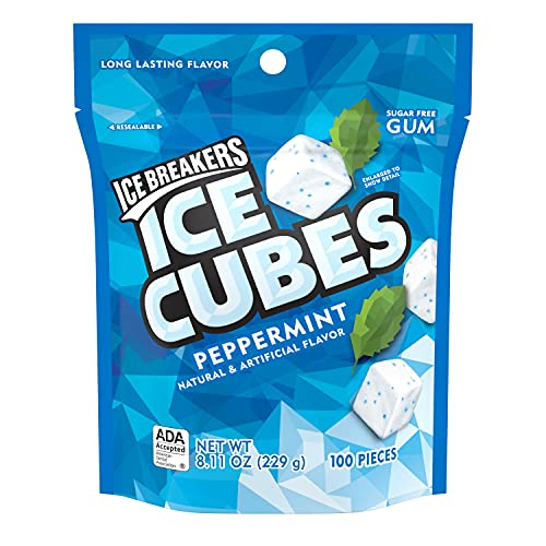 ICE BREAKERS ICE CUBES Peppermint Flavored Sugar Free Chewing Gum, Made with Xylitol, 8.11 oz Bag (100 Pieces)