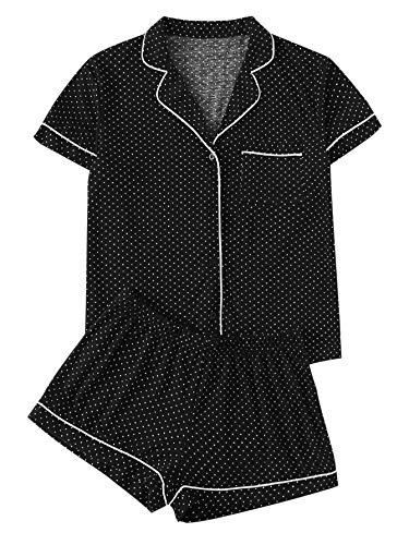 Floerns Women's Notch Collar Short Sleeve Sleepwear Two Piece Pajama Set Polka Dots S
