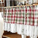 Mezza tenda,A prova di polvere,Mezza tenda di pizzo scozzese rosso e verde,Tenda da gabinetto country americano,Tenda da cucina, Tenda da caffè,Tenda divisoria/1 pcs