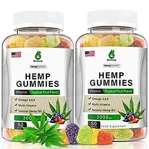 (2Pack) High Potency Hemp Gummies for Pain Relief and Inflammation - 3,000mg Hemp GummiesExtra Strength Anxiety- Sleep, Stress,Mood, Focus& Energy- Organically USA