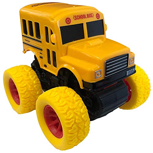 ArtCreativity Yellow School Bus Toy with Yellow Monster Truck Tires, Push n Go Toy Car for Kids, Durable Plastic Material, Best Birthday Gift for Boys, Girls, Toddlers