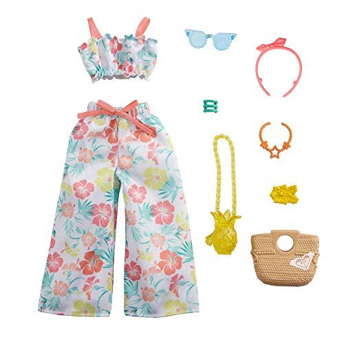 CDU Barbie Pack de moda licencia Roxy: ropa de muñeca conjunto 2 piezas tropical (Mattel GRD58)