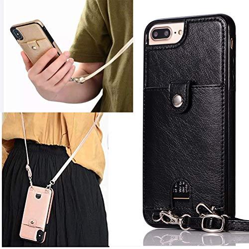 TRIPLE-S, Handyhülle Pu Leder mit Band und Kartenfach, Kompatibel mit iPhone 7/8-X-11-XR, Handy Kette, Handy Hülle mit Kordel zum Umhängen, Handy Anhänger,Lanyard Case, Handy Band