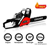 COOCHEER 62CC 2 Stroke Gas Powered Chainsaw, 20-Inch 3.5 HP and Handheld Gasoline Chain Saw with Carry Bag for Tree Stumps, Limbs, Tree Felling, and Firewood Cutting(Red)