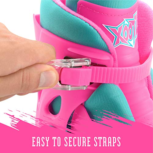 Xootz Kids Inline Skates, Adjustable Beginner Roller Blade Boots, Girls, Pink/Blue, Medium (UK Child 13-3)