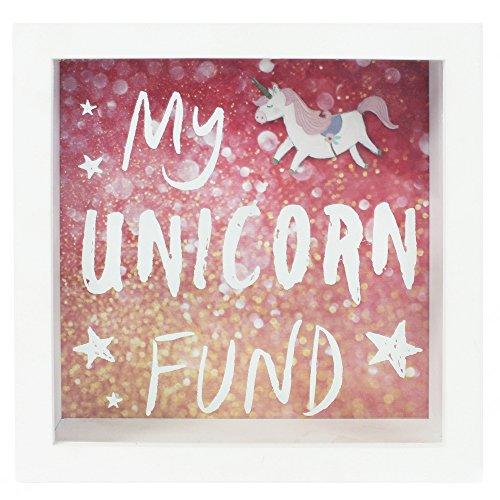Jones Home and Gift Hucha con Marco de Unicornio, Madera MDF, Blanco, 18 x 7 x 18 cm