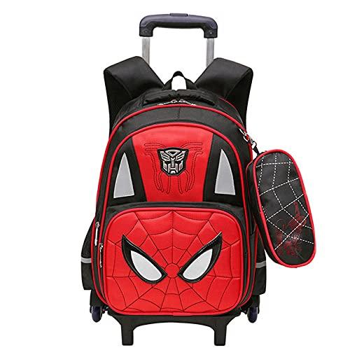 GJZhuan Niños Spiderman Mochila De 6 Ruedas con Barra Tracción Oculta Escolar Desmontable Antichoque Unisex Maleta para Niños Barra Mano Equipaje,Red-44 * 31 * 18cm
