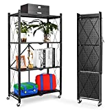 4-Tier Foldable Storage Shelves, Wide Folding Metal Shelf with Caster Wheels for Garage Kitchen Home Closet Office, No Assemble Needed - Black