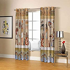 FFKL Blackout Curtains Eyelet Egyptian Mural Ring Top Thermal Insulated Window Treatment Drapes for Bedroom, Livingroom, Kids Nursery Room