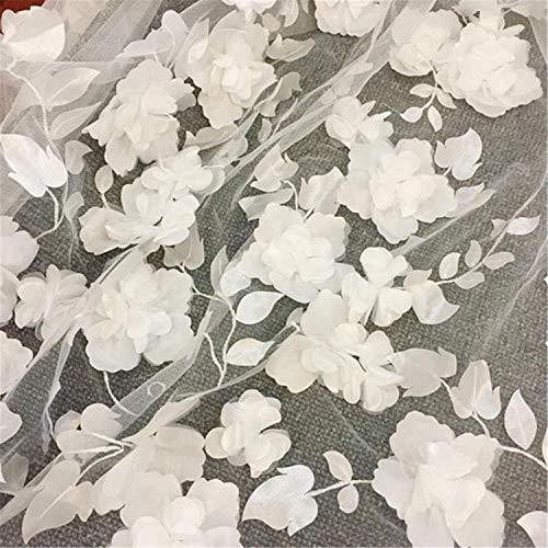 Impresionante tela de encaje de flores 3D con encaje de malla para vestidos de novia o baile de graduación, 51 pulgadas de ancho vendido por 1 yarda. marfil