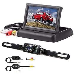 Rückfahrkamera mit Monitor, Podofo IP68 wasserdichte AutoKamera Rückfahrkamera mit 4.3'' TFT LCD Rückansicht Bildschirm für Einparkhilfe Rückfahrhilfe