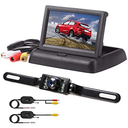 Rückfahrkamera mit Monitor, Podofo IP68 wasserdichte AutoKamera Rückfahrkamera mit 4.3\'\' TFT LCD Rückansicht Bildschirm für Einparkhilfe Rückfahrhilfe