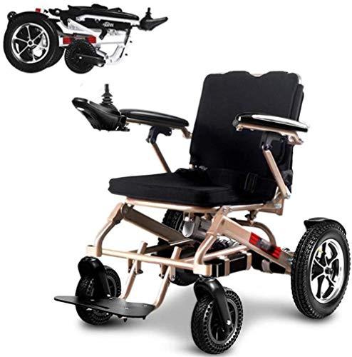 Fangfang Sedia a Rotelle Pieghevole, Leggero Intelligente Pieghevole Carry Le sedie a rotelle elettriche, Durevole Sedia a rotelle, Sicuro e Facile da Guidare for Extra Comfort, Supporto 220 lb/Oro