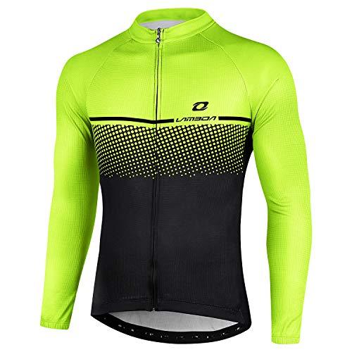 LAMEDA Radtrikot Herren Damen Langarm Fahrradtrikot Jersey Funktionsshirt Elastische Atmungsaktive Schnell Trocknen Stoff Fahrradbekleitung für Radsport Outdoor Sport(Schwarz&Grün L)