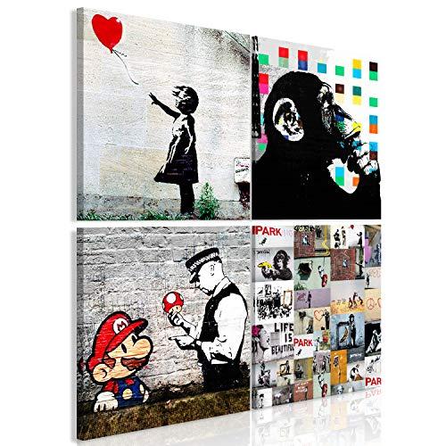 murando - Bilder Banksy 40x40 cm Vlies Leinwandbild 4 Teilig Kunstdruck modern Wandbilder XXL Wanddekoration Design Wand Bild – schwarz weiß AFFE Mario i-B-0057-b-a