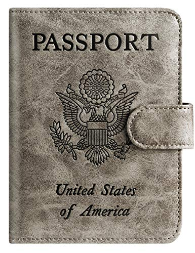 Passport Holder Cover Wallet RFID Blocking Leather Card Case Travel Accessories for Women Men (Grey)