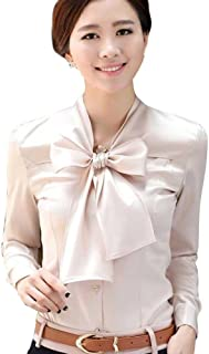 Aro Lora Women's Long Sleeve Slim Fit Bow-Tie Silk Shirt Blouse