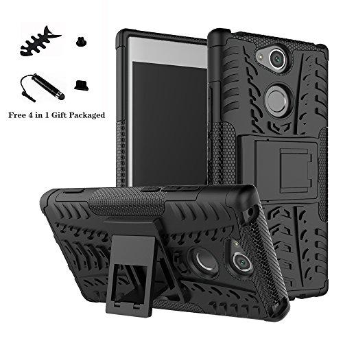 LiuShan Sony XA2 Hülle, Dual Layer Hybrid Handyhülle Drop Resistance Handys Schutz Hülle mit Ständer für Sony Xperia XA2 Smartphone (mit 4in1 Geschenk verpackt),Schwarz
