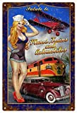 DKISEE Aluminum Safety Sign Salute Planes Trains and Automobiles Pin Up Girl Metal Sign Aluminum Sig...