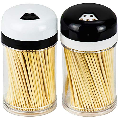 DecorRack 2 Toothpick Dispensers with 400 Natural Wood Toothpicks for Teeth Cleaning Holding Small Appetizers Cocktails and Crafts Plastic Toothpick Holder with Adjustable Pour Holes Set of 2