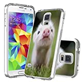 S5 Case Pig,Gifun [Anti-Slide] and [Drop Protection] Soft TPU Premium Flexible Protective Cover Case Compatible with Samsung Galaxy S5 W Lovely Little Pig