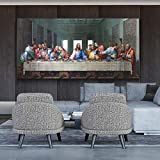 Pinturas sobre lienzo de la última cena de Leonardo da Vinci, carteles e impresiones artísticos de pared, arte famoso, cuadro de pared de Jesús, decoración del hogar, 20X40cm sin marco
