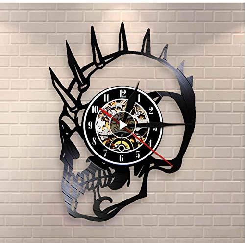 BGNH Etiqueta de la Pared Horror de la Vendimia Tipo Grosero Punky esquelética de Halloween Decoración del Motorista Tatuajes Scary Monster Principal esquelético del Reloj de Pared de Vinilo Registro