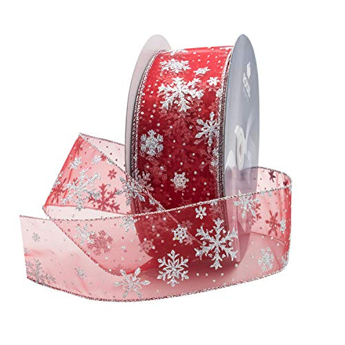 Red Organza Glitter Wired Sheer Christmas Ribbon - Silver Edge, 2.5' (#40) Snowflake Design for Floral, Craft, Holiday Decoration, 50 Yard Roll (150 FT Spool) Bulk by Royal Imports